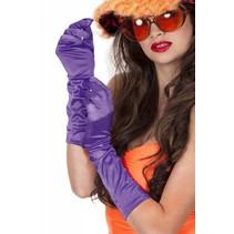 Gala handschoenen satijn paars 40 cm