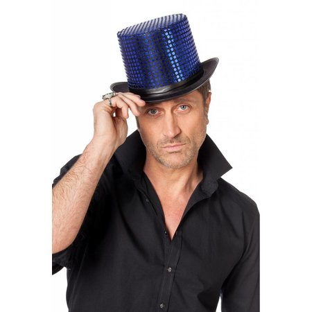 Hoge hoed paillettenstof blauw