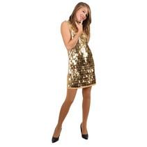 Pailletten jurk pijpjes metallic goud
