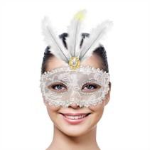Venetiaans Masker Metallic wit met LED
