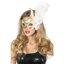 Venetiaanse masker met 2 punten wit