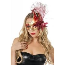 Venetiaanse masker met 2 punten rood