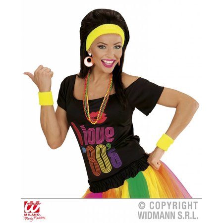 80's zweetband set neon geel