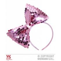 Hoofdband met paillettenstrik roze