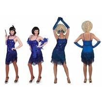 Glitter jurkje met franjes blauw