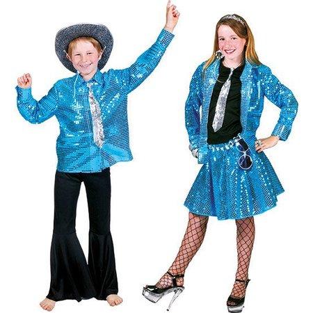 Blouse disco blauw kind