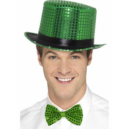 Hoge hoed pailletten groen