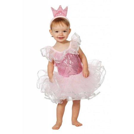 Roze Prinsesje pailletten met tiara