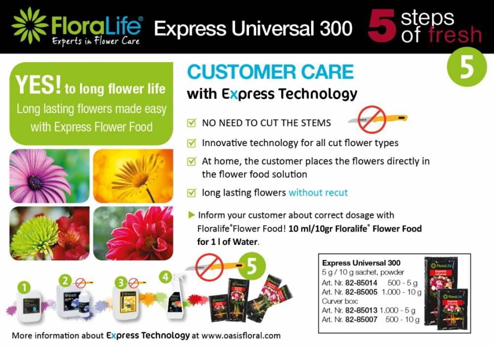 FLORALIFE® Express Universal 300 Vloeibaar   5 ml x1000 stuks   voor 0.5L water