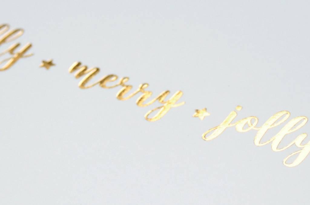 KEET Wenskaart - KEET GOLD - HOLLY ★ MERRY ★ JOLLY