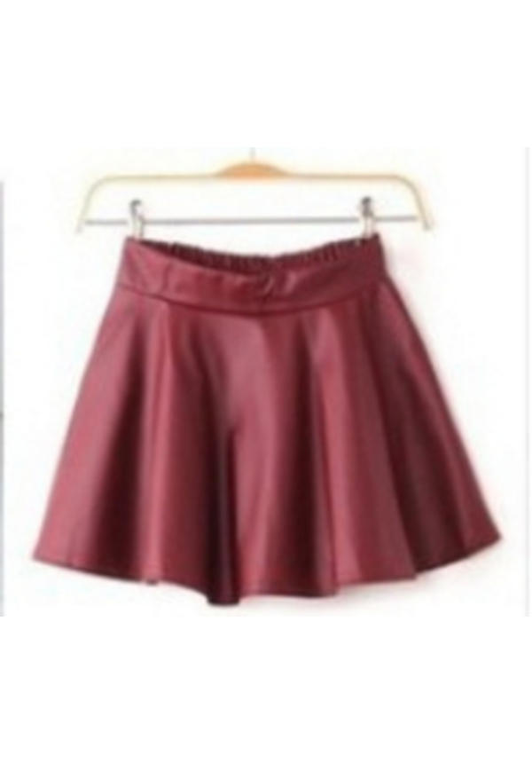 Skater Skirt (bordeaux) Rood Leather Look
