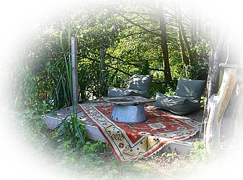 Buitenvloerkleed in de tuin