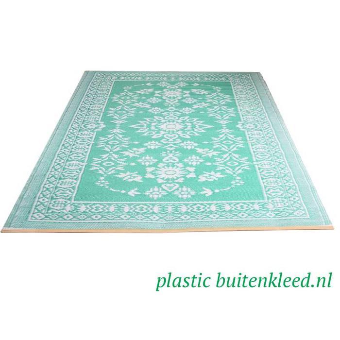 Turquoise wit plastic kleed