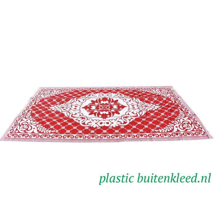 Buitenvloerkleed rood wit
