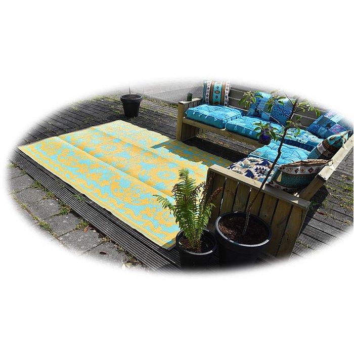 Buitentapijt limited edition saffraan blauw