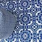 Poef voor in de tuin blauw wit met bijpassend tuinkleed delfsblauw