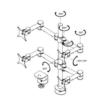 Dataflex Viewmate monitorarm Zilver - bureau 622