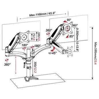 Vision Mounts VM GM124D Dubbele Monitorarm Met Gasveer Zwart/Wit