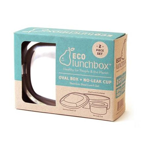 Eco lunchbox lunchbox Oval 2-delig RVS