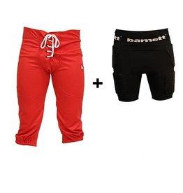 barnett Kit Pantaloni da calcio americano + pantaloni di compressione (corte)