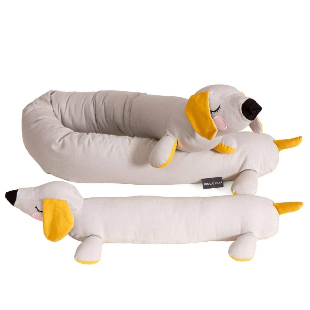 Kussen Teckel Lazy Puppy grijs