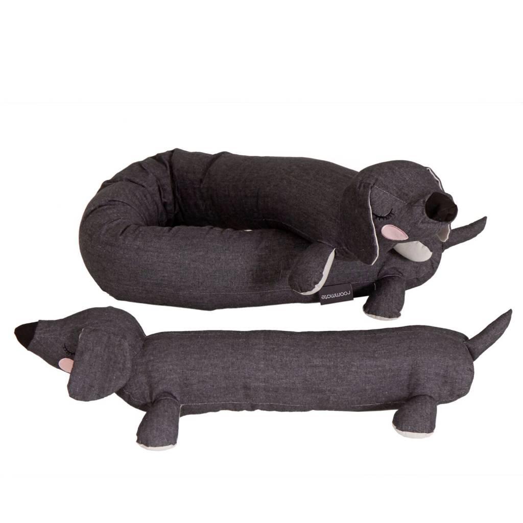 Kussen Teckel Lazy Puppy antraciet