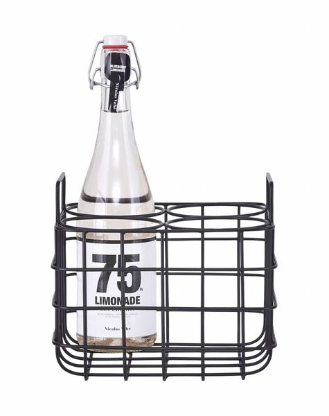 Zwarte flessenhouder voor 4 flessen
