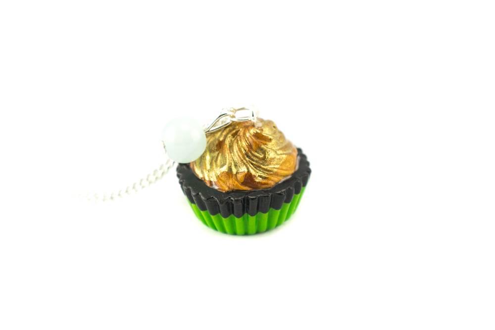 """Cute Clay """"Goldener Cupcake"""" - Kette"""