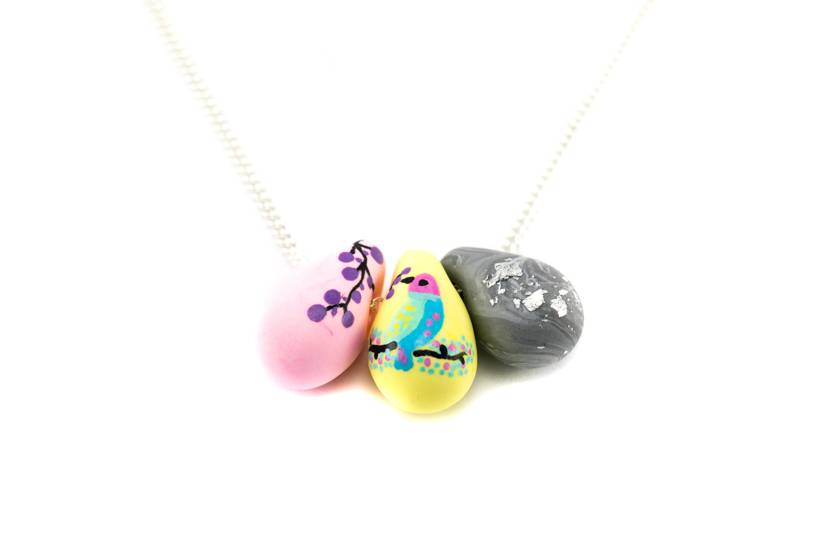 "Cute Clay ""Painted Bird"" - Kette"