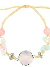 """Cute Clay """"Peach & Silver Pink""""-Armband"""