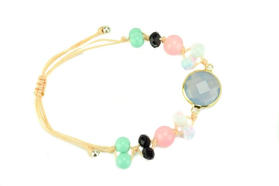 """Cute Clay """"Peach & Gold Blue""""-Armband"""