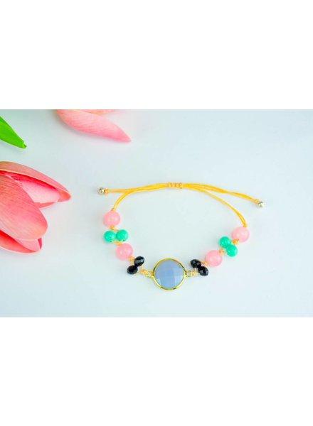 """Cute Clay """"Peach & Gold Blue II""""-Armband"""