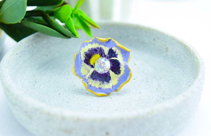 "Cute Clay ""Pansy""- Ring"