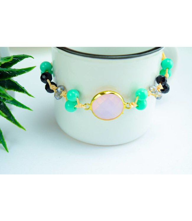 "Cute Clay ""Peach & Gold Pink"" - Armband"