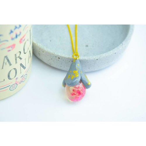 """Cute Clay """"Rosa Blüte im Glas"""" - Kette"""