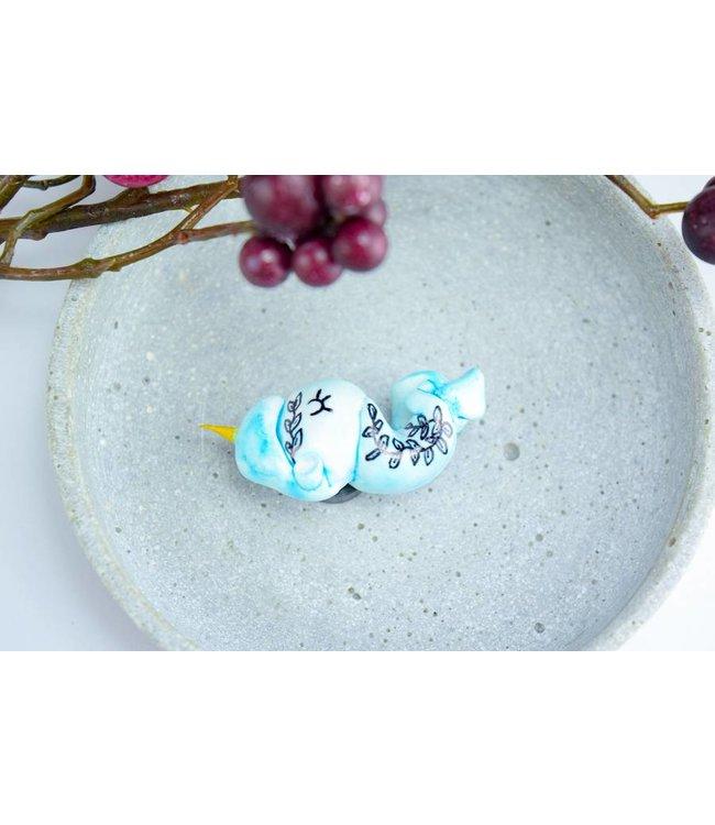 "Cute Clay ""Blue sleepy Unicorn"" - Magnet"
