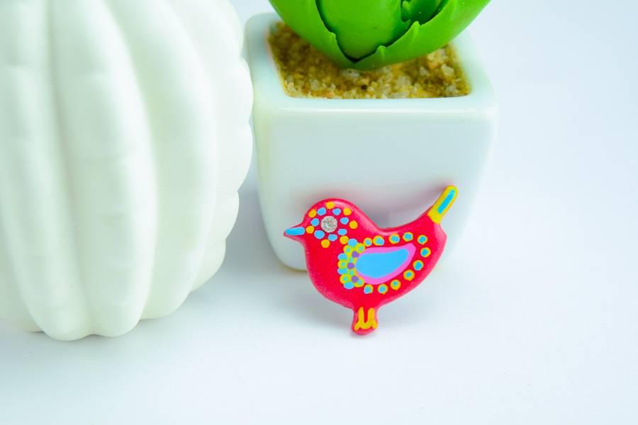"Cute Clay ""Dunkelrosa Vogel Nr. 3"" - Magnet"