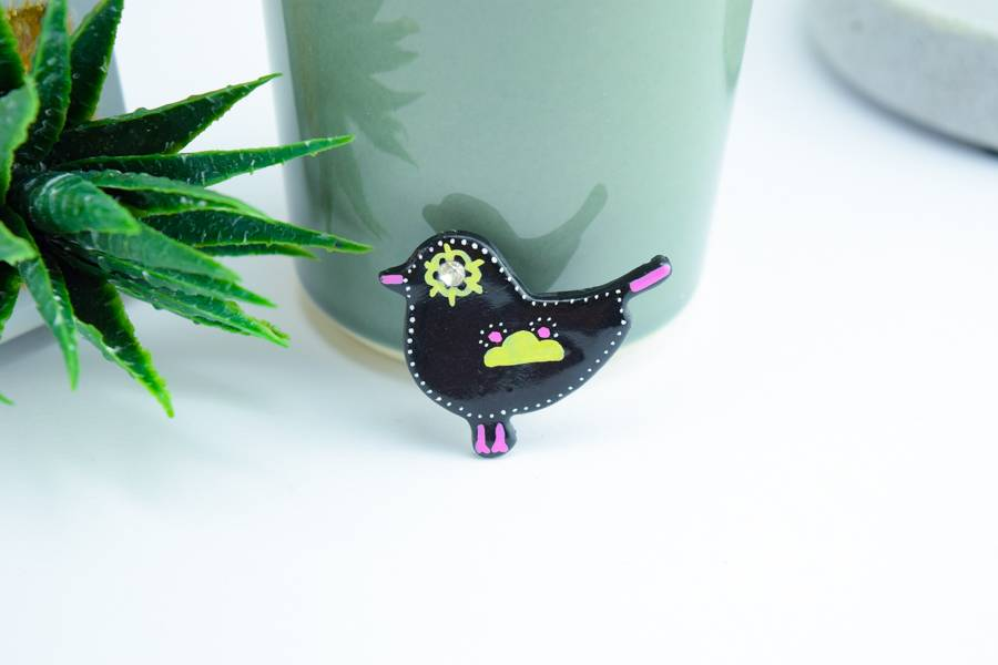 "Cute Clay ""Black Bird Nr. 6"" - Magnet"