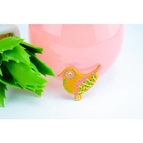 """Cute Clay """"Gold Bird Nr. 2"""" - Magnet"""