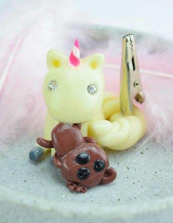 """Cute Clay """"Einhorn mit Teddy""""-Notizständer (leuchtet im Dunkeln)"""