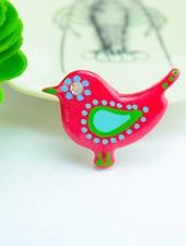 "Cute Clay ""Dunkelrosa Vogel"" - Magnet"