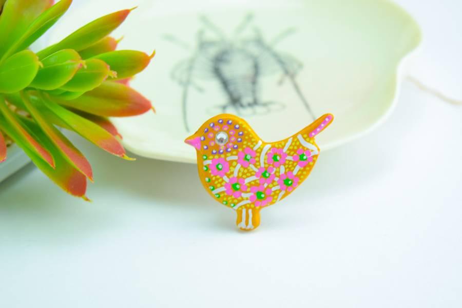 "Cute Clay ""Gold Bird"" - Magnet"