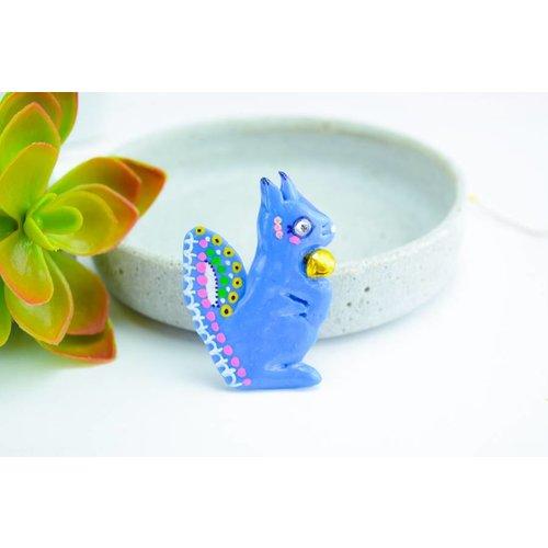 """Cute Clay """"Blaues Hörnchen"""" - Magnet"""