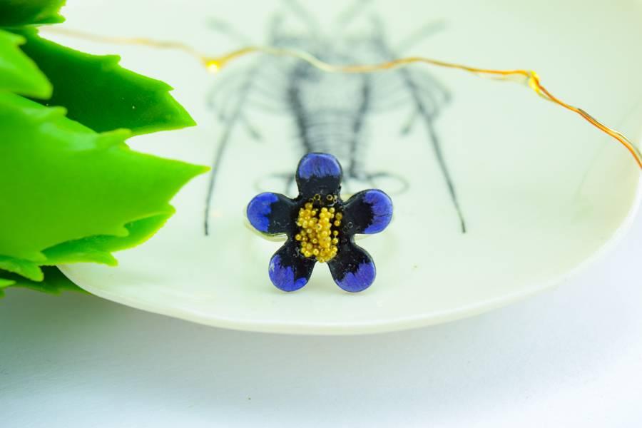 "Cute Clay ""Purple Flower""-Ring"