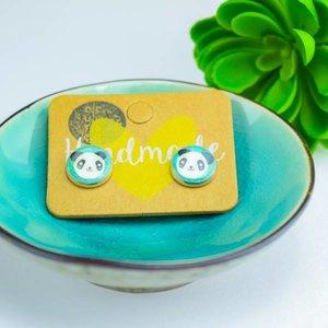 """Cute Clay """"Panda türkis oder neonrosa"""" - Ohrstecker"""