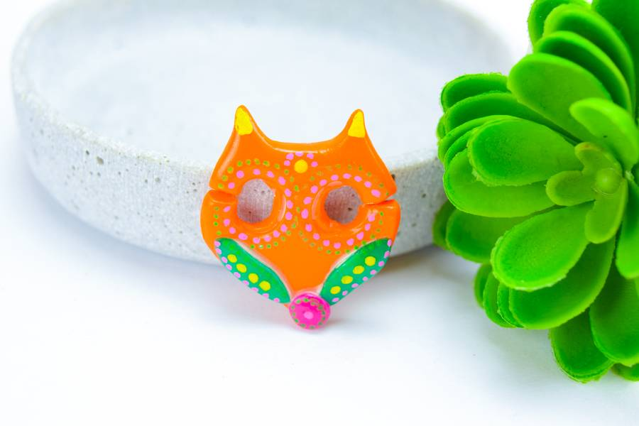 "Cute Clay ""Orange Fox"" - Brosche"