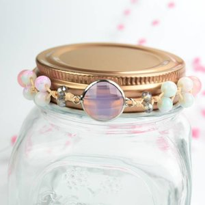 "Cute Clay ""Peach & Silver Pink"" - Armband"