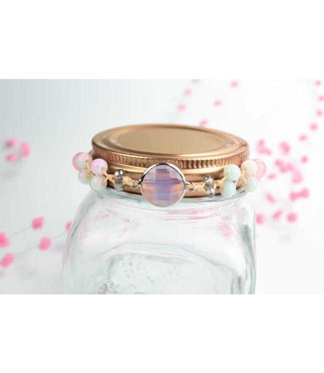 """Cute Clay """"Peach & Silver Pink"""" - Armband"""