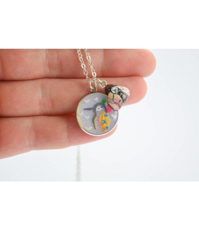 """Cute Clay """"Kolibri + Biene"""" - Kette"""
