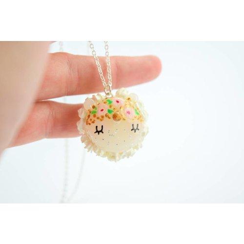 """Cute Clay """"Blumen-Einhorn-Macaron"""" - Kette"""